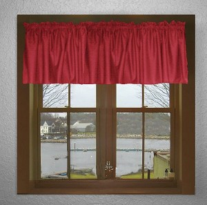 Solid Red Color Valances (set of two 40 inch wide, available in many lengths)