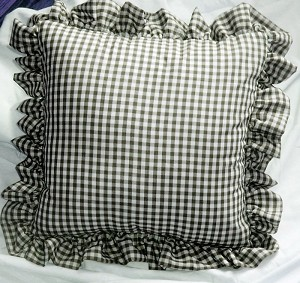 Black Gingham Check Accent Pillow