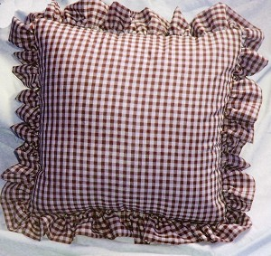 Burgundy-Wine Gingham Check Accent Pillow