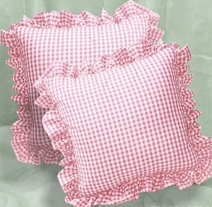 Light Pink Gingham Check Accent Pillow with Removable Ruffled Edge Cover (available in 16x16 or 18x18)