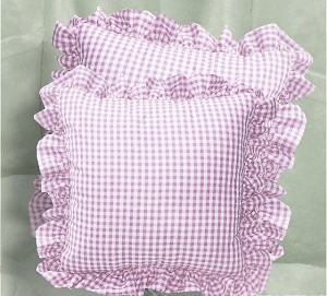 Light Purple Gingham Check Accent Pillow with Removable Ruffled Edge Cover (available in 16x16 or 18x18)