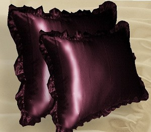 Burgundy Satin Ruffled Edge Throw Pillow Cover with Pillow Insert (available in 16x16 or 18x18)