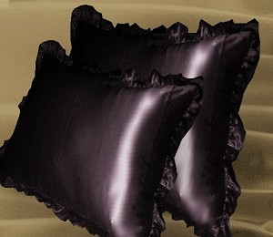 Eggplant Satin Ruffled Edge Throw Pillow Cover with Pillow Insert (available in 16x16 or 18x18)