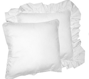 Solid Bright White Colored Accent Pillow with Removable Ruffled or Corded Edge (in 16x16 or 18x18)