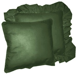Solid Dark Forrest Green Colored Accent Pillow with Removable Ruffled or Corded Edge (in 16x16 or 18x18)