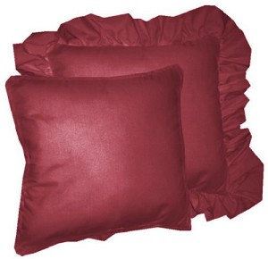 Solid Dark Wine-Burgundy Colored Accent Pillow with Removable Ruffled or Corded Edge (in 16x16 or 18x18)