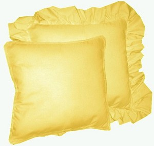 Solid Golden Yellow Colored Accent Pillow with Removable Ruffled or Corded Edge (in 16x16 or 18x18)