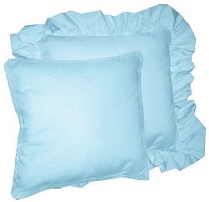Light Blue Throw Pillow (Ruffled or Corded Edge)