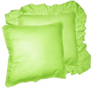 Solid Lime Green Colored Accent Pillow with Removable Ruffled or Corded Edge (in 16x16 or 18x18)