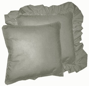 Solid Medium Gray Colored Accent Pillow with Removable Ruffled or Corded Edge (in 16x16 or 18x18)