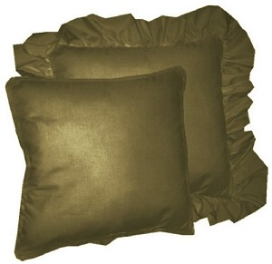 solid olive green colored accent pillow with removable ruffled or