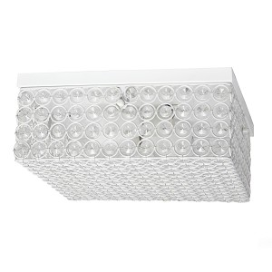 White Color Square Ceiling Flush Mount with Elipse Crystals