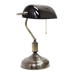 Executive Banker's Desk Lamp with Black Glass Shade