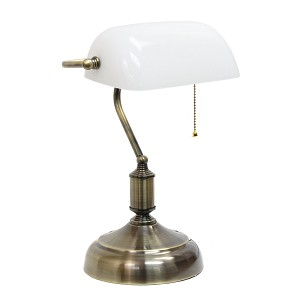 Executive Banker's Desk Lamp with White Glass Shade