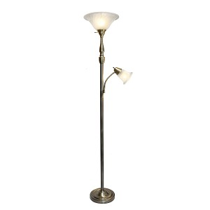 Mother Daughter Floor Lamp with Marble Glass Shades and Antique Brass Finish