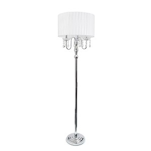 Sheer White Shade Floor Lamp with Hanging Crystals