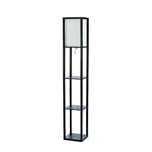Black Floor Lamp Etagere Organizer Shelf with Linen Shade