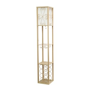 Tan Floor Lamp Etagere Organizer Storage Shelf and Wine Rack