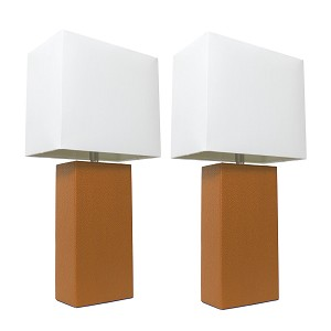 Tan and White Modern Leather Table Lamps (2-Pack)
