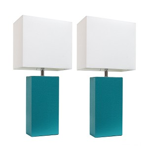Teal and White Modern Leather Table Lamps (2-Pack)