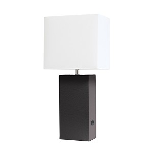 Brown Table Lamp with USB Port and White Fabric Shade