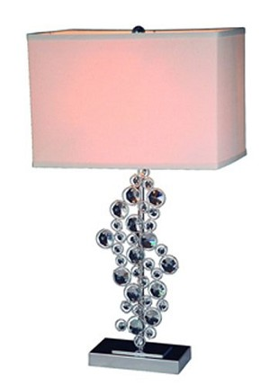 Sequin and Chrome Table Lamp with Prismatic Crystals