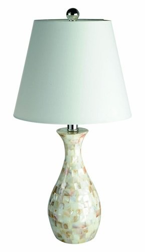 Seashell Tiled Mosaic Look, Curved Table Lamp with Chrome Accents