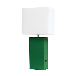 Green Table Lamp with USB Port and White Fabric Shade