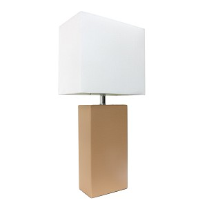 Beige and White Modern Leather Table Lamp
