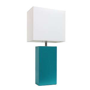 Teal and White Modern Leather Table Lamp