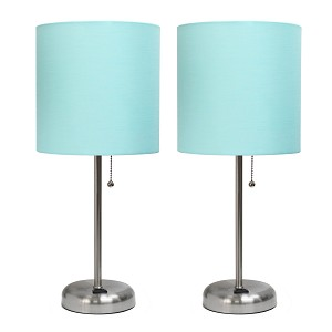 Brushed Steel Stick Lamp with Charging Outlet and Aqua Color Fabric Shade - 2 Pack Set