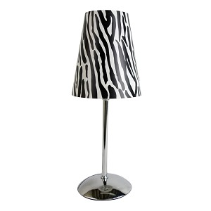Mini Silver Table Lamp with Plastic Printed Shade