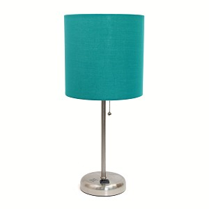Stick Lamp with Charging Outlet and Teal Fabric Shade