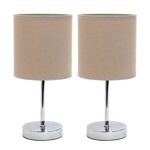 Mini Table Lamp Set with Grey Shade and Chrome Finish (2-PK)