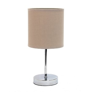 Mini Table Lamp with Grey Shade and Chrome Finish