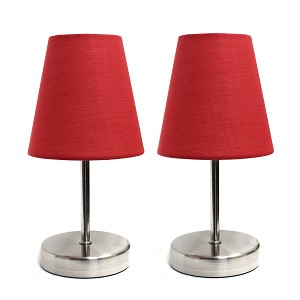 Mini Red Shade Table Lamp with Sand Nickel finish (2-PK)