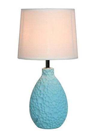 Blue Texturized Ceramic Oval Table Lamp