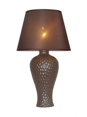 Brown Texturized Curvy Ceramic Table Lamp