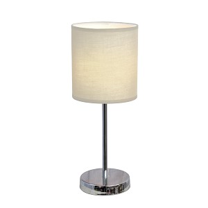 Mini Table Lamp with White Shade and Chrome Finish