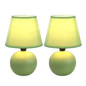 Globe Style, Ceramic, Green Mini Table Lamp Set (2-PK)