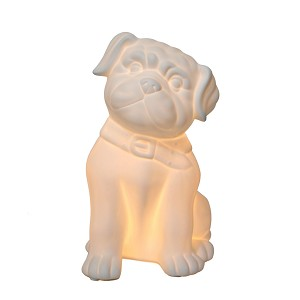 Porcelain Puppy Dog Shaped Table Lamp