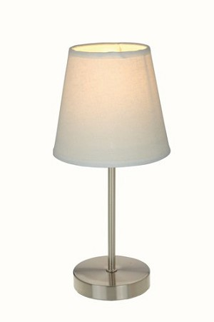 Sand Nickel Basic Table Lamp with White Shade