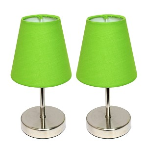 Mini Green Shade Table Lamp with Sand Nickel finish (2-PK)