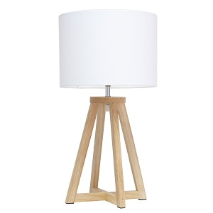 Interlocked Triangular Natural Wood Table Lamp with White Fabric Shade