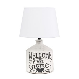 Welcome Home Rustic Ceramic Farmhouse Foyer Entryway Accent Table Lamp with Fabric Shade